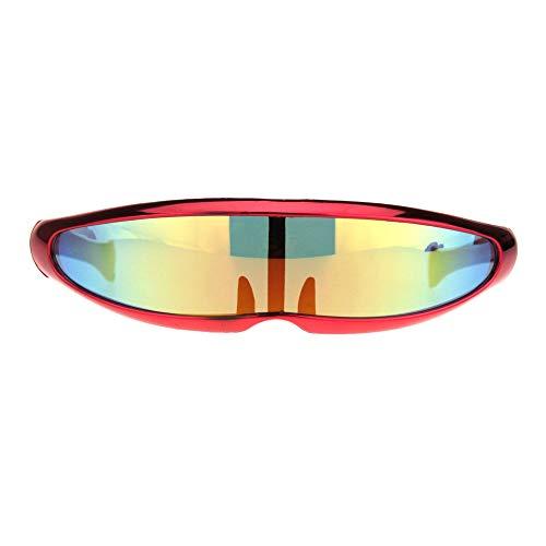 Mirror Lens Monolens Cyclops Robotic Futuristic Sunglasses Metallic -