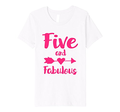 4 Girls Fitted T-shirt (Kids 5th Birthday Gift T-Shirt Five and Fabulous Pink (Fitted) 4 White)