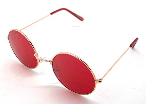 Sol Redondas Retro Hippie Sunglasses Calidad Lagofree de Gafas UV400 Rojo Alta qIwT6A5aO