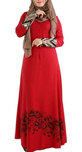 Jaycargogo Malaisie Caftan Abaya Femmes Hijab Patchwork Musulman Robe Sequin Rouge