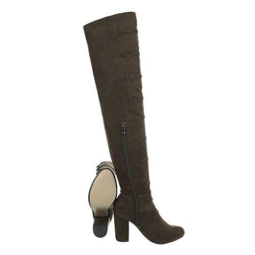 Ital-Design Overknees Damenschuhe Overknees Pump High Heels Reißverschluss Stiefel Khaki XK-0060