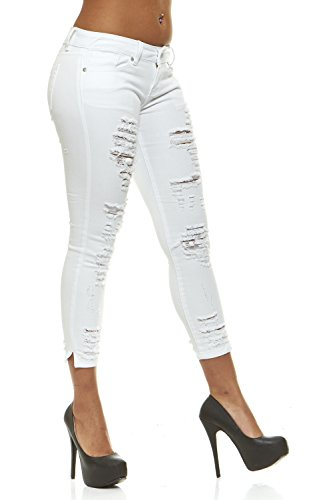 (Ripped Slits Distressed Ankle Skinny Slim Fit Stretch Jeans for Women Plus Size 18 / White)