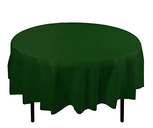 Exquisite 12-Pack Premium Plastic 84-Inch Round Tablecloth - Dark Green