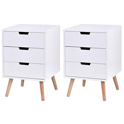 Nightstand W/2 Drawers - Giantex Side End Table Nightstand with Drawers Mid-Century Accent Wood Furniture (2, White w/ 3 Drawers)
