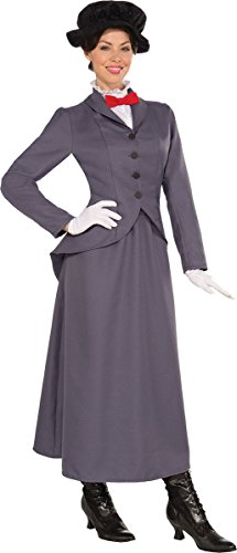 Black Mary Poppins Hat (Adults Fancy Dress Party Mary Poppin Edwardian Nanny Ladies Complete Outfit Grey)