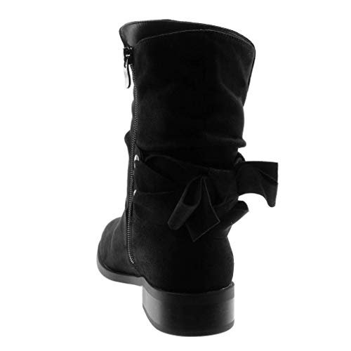 Noeud Bottine Mode Intérieur Femme Tréssé Angkorly Chic Fourrée Noir Bloc Cm Souple Botte Chaussure Talon 3 8aExA