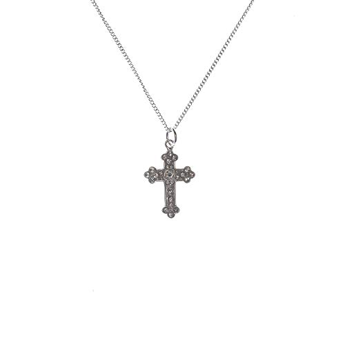 Tone Budded Cross (Dicksons Small Budded Cross with Jewel-Tone Accents Silver-Plated 18-Inch Pendant Necklace)