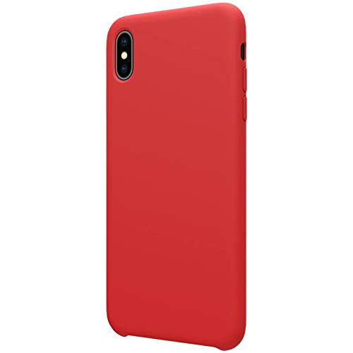 Nillkin Case for Apple iPhone X (5.8″ Inch) Flex Pure Case Liquid Silicon Finish Anti Finger Print with Inner Microfibre Lining Red Color
