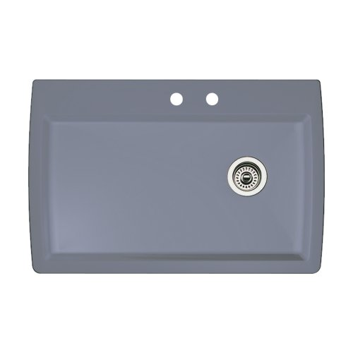 (Blanco 440193-2 Diamond 2-Hole Single-Basin Drop-In or Undermount Granite Kitchen Sink, Metallic Grey)