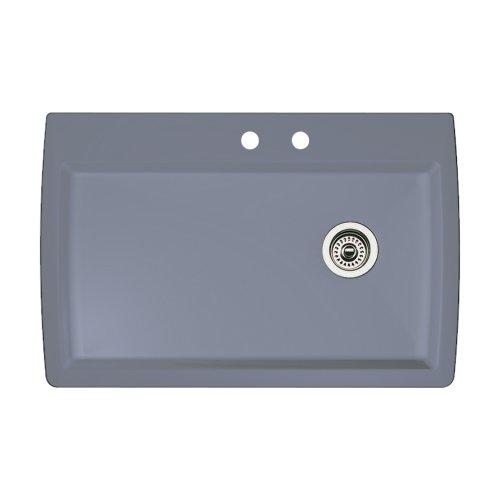 Blanco 440193-2 Diamond 2-Hole Single-Basin Drop-In or Undermount Granite Kitchen Sink, Metallic Grey