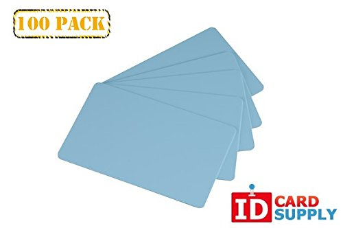 Pack of 100 Light Blue CR80 Standard Size PVC Cards | 30 mil Thickness by easyIDea
