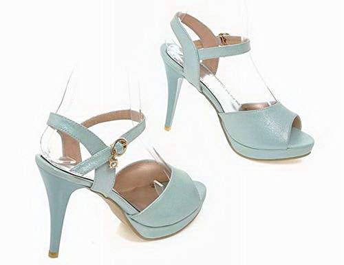 Sandales Mélangées GMBLB015754 Cuir Bleu à Couleurs Boucle Femme PU AgooLar Talon Haut gzq8Wvv6