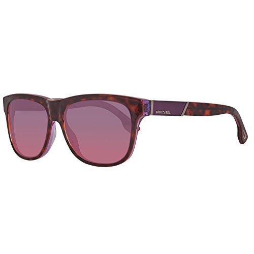 Diesel Unisex DL0085 55B Square Sunglasses Tortoise/Purple 57mm (Square Sonnenbrille)