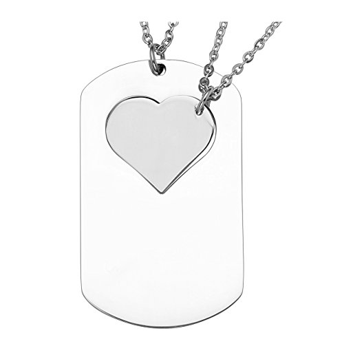 Zysta Free Engraving - Personalized Custom 2pcs/Set Matching Puzzle His and Her Dog Tag Necklace with Heart Necklace for Couple Boyfriend and Girlfriend Jewelry (Non-Engraving) (Keychain Heart Tag)