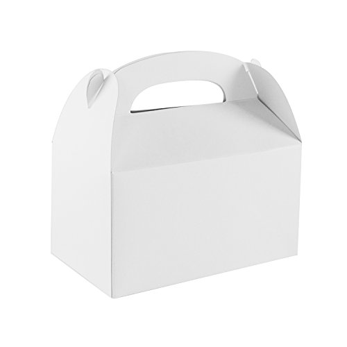 Blank White Color Treat Gift Paper Cardboard Boxes with Handles for Arts & Crafts Candy Goodie Bags, Picnic Snacks, Birthday Party Favors, Baby Shower, Weddings (12 Pack, 6.25