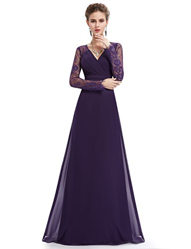 Damen Elegant Maxikleider Dunkelviolett Abendkleid 08692 Langarm Pretty Ever R5U4qHB