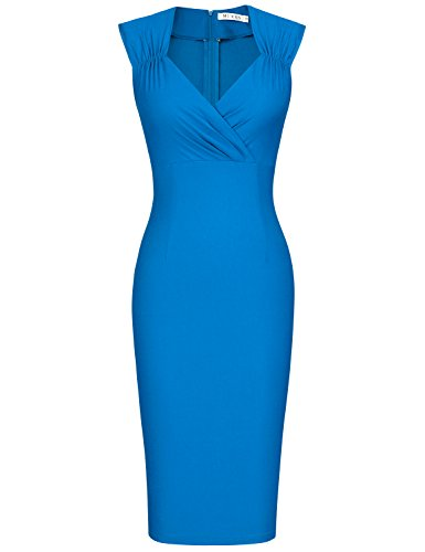 MUXXN Women's Simple Elegant OL Style Business Dress (Color Blue XL)