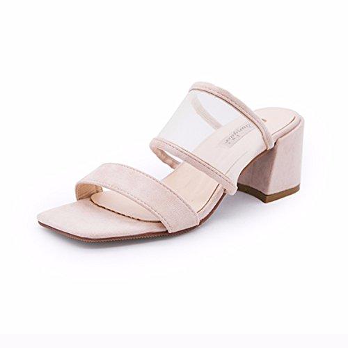 De Señoras Zapatillas Alto QPSSP Cuadrado Sandalias De Zapatos Pink Tacón Transparente xwq8zPO