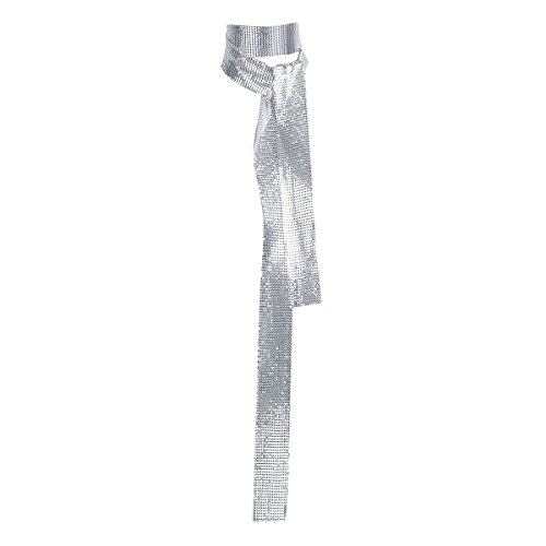 (TiaoBug Women's Sparkle Metal Sequins Party Evening Long Thin Scarf Tie Neckerchief Silver One Size)