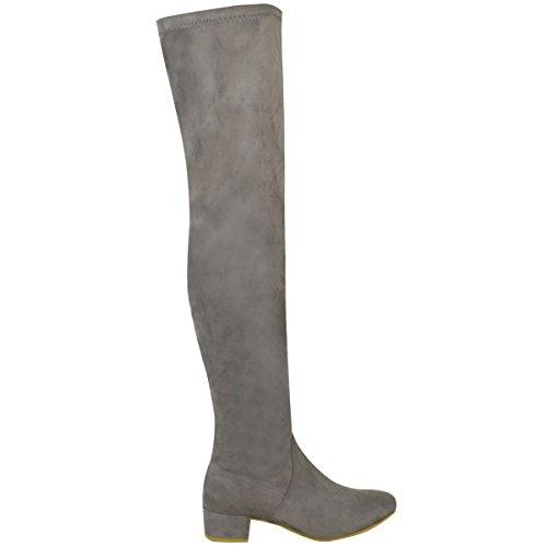 Mode Dorstige Dames Over De Knie Flat Dij Hoge Lage Blok Hakken Lange Laarzen Zip-maat Grijs Faux Suede