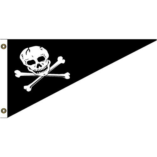 [Pirate Nylon Bow Pennant 10in x 15in] (Pirate Cost)