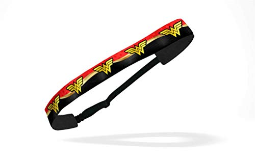 - RAVEbandz! Women's Adjustable Elastic Headbands (Wonder Woman- Superhero) - for Fashion or Workouts - Non Slip Velvet Lined 1 Inch (Exclusive Wonder Woman red & Gold)