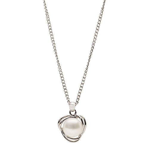 (Sterling Silver Love Knot Pendant with Freshwater Cultured Pearl)