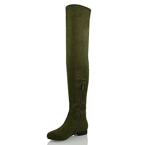 HIGH KNEE FAUX WOMENS THE SIZE BOOTS LADIES Suede STRETCH TALL Faux Khaki OVER SUEDE THIGH HIGH zRRx1wqvE