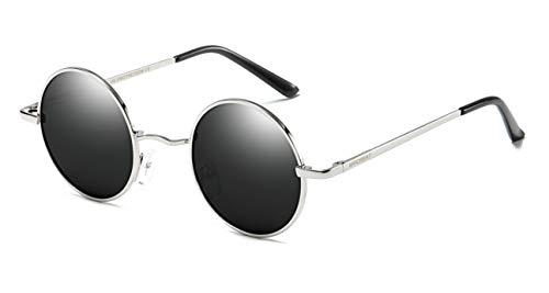 mural Gafas Plateado 400 UV bisagra para WHCREAT espejo Retro Redondas Negro de de primavera hombres marco de sol Polarizado Unisex Protección lente de mujeres disponible vOq7OgI
