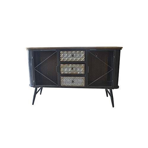 Herrera Buffet in Dark Gray with Metal Base, Three Drawers, Wire Mesh Door Fronts, And Solid Wood Top, by Artum Hill - Top Mesh Table