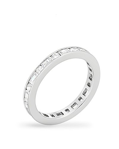 ed Eternity Band with Alternating Baguette and Round Cut CZ Channel Set Size 5 ()