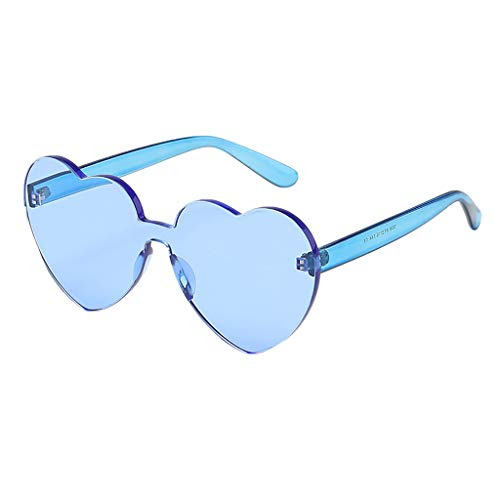 BiuBuy Love Heart Shaped Sunglasses Women PC Frame Resin Lens Sunglasses Eyewear for Girl (Blue)