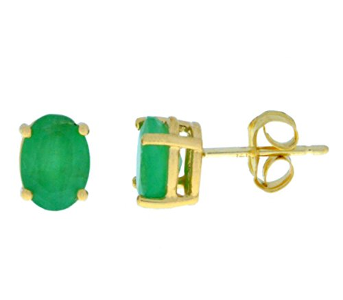14Kt Yellow Gold Genuine Emerald Oval 6x4mm Stud Earrings (Gold 14kt 6x4 Emerald)