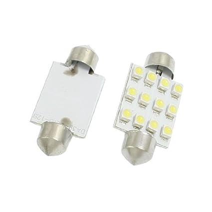 Amazon.com: eDealMax 2 piezas de coches 1210 3528 12 Blanca 39mm bombilla de la lámpara de luz LED SMD Adorno de la bóveda: Automotive