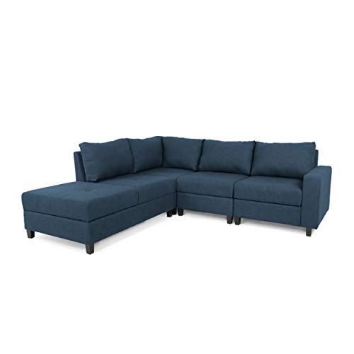 Kama Chaise Sectional Sofa Set, 4-Seater, Hidden Storage Compartments, Modern, Navy Blue
