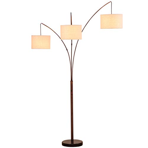 Brightech Trilage - Modern LED Arc Floor Lamp with Marble Base  3 Hanging Lights, Great for Reading - Free Standing, Behind The Living Room Couch Uplight & Downlight - Oil Rubbed Bronze
