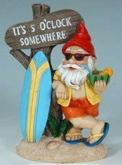 5:00 Somewhere Tropical Party Gnome Garden Statue -