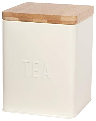 Now Designs Square Tea Tin, Ivory, Vintage Diner Print