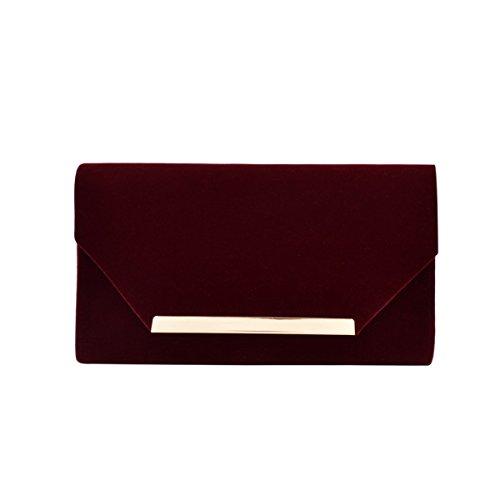 Elegant Solid Color Velvet Clutch Evening Bag Handbag, Burgundy