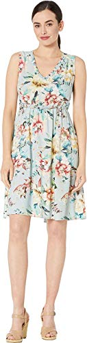 Tribal Women's Printed Challis Sleeveless V-Neck Dress with Ruffle Detail Ocean Wave Medium (Womens Tribal Wave)