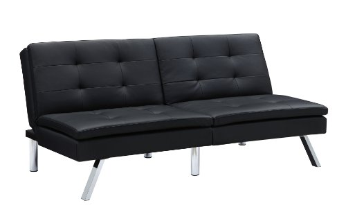DHP Chelsea Convertible Splitback Futon Couch with, multifunctional - (Modern Leather Sofa Bed)