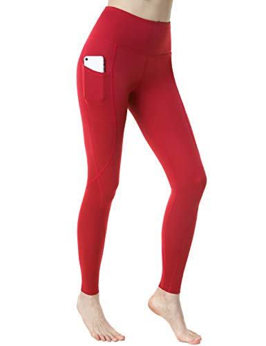 TSLA Yoga Pants Mid-Waist/High-Waist Tummy Control w Side/Hidden Pocket Series, Pocket Aerisoft(fyp74) - Red, Small (Size 6-8_Hip37-39 Inch) ()
