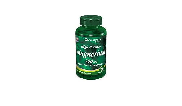 Amazon.com: Vitamin World High Potency Magnesium 500 Mg (250 Coated Caplets): Health & Personal Care