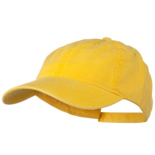 - Washed Solid Pigment Dyed Cotton Twill Brass Buckle Cap - Yellow