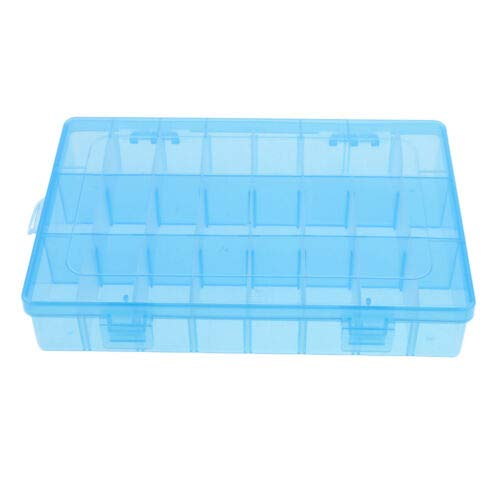 - Demountable Plastic Jewelry Organizer Storage Container Adjustable 24 Grids (Color - Blue)