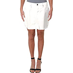 Aqua Womens Denim Raw Hem Mini Skirt White US 28
