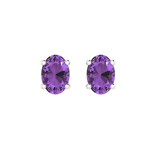 Belinda Jewelz Womens 14k White Gold 7 mm Oval Dainty Sparkling Birthstone Prong Gems Gemstone Elegant Classic Timeless Accessories Jewelry Fine Stud Earrings, 1.5 Carat Amethyst Purple