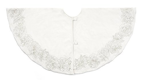 Arcadia Home TC2 Beaded Floral Tree Skirt, Ivory