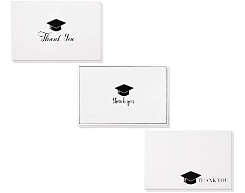 (36-Pack Graduation Thank You Cards - Thank You Greeting Cards Bulk Box Set, 3 Black and White Graduation Cap Thank You Designs, Includes 36 Note Cards and White Envelopes, 4)