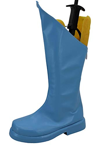 GOTEDDY Halloween Cosplay Boots Zipper Leather Blue Shoes Costume Accessories]()